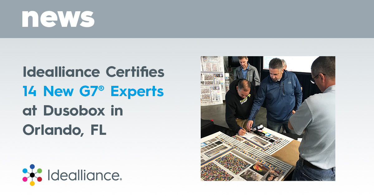 Idealliance Certifies 14 New G7® Experts at Dusobox in Orlando, FL