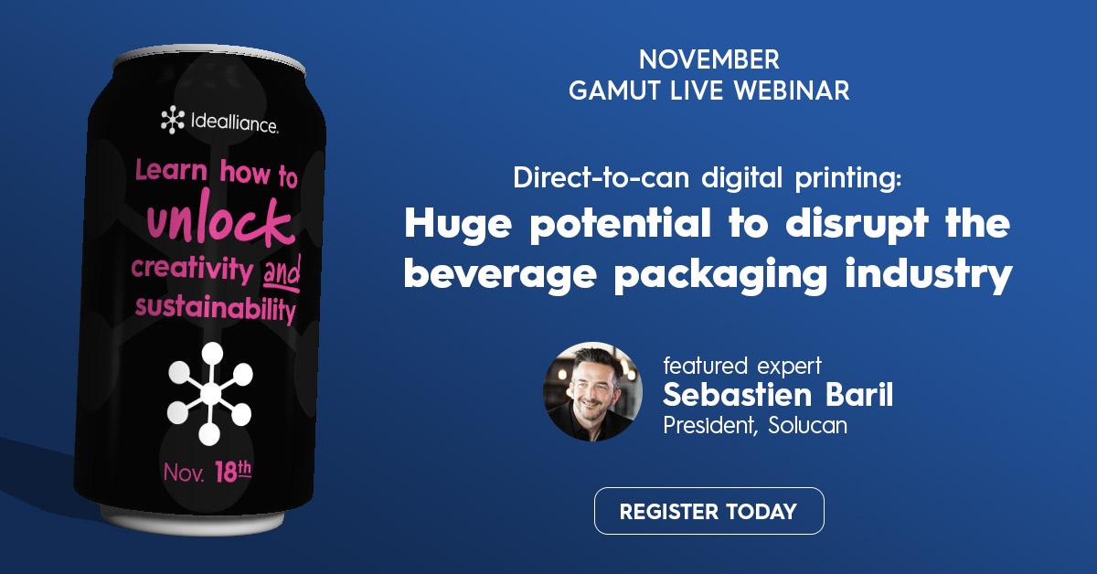 Direct-to-can digital printing: Huge potential to disrupt the beverage packaging industry | GAMUT Live webinar from Idealliance Nov. 18, 2020